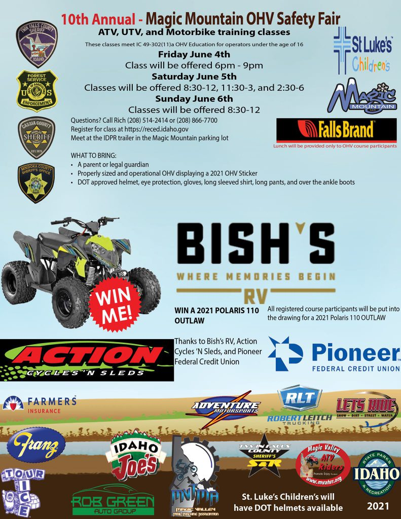 Mark your calendars for the Magic Mountain OHV Safety Fair this summer! Join us June 4-6, 2021! Don't miss out on your chance to win a 2021 Polaris 110 OUTLAW!