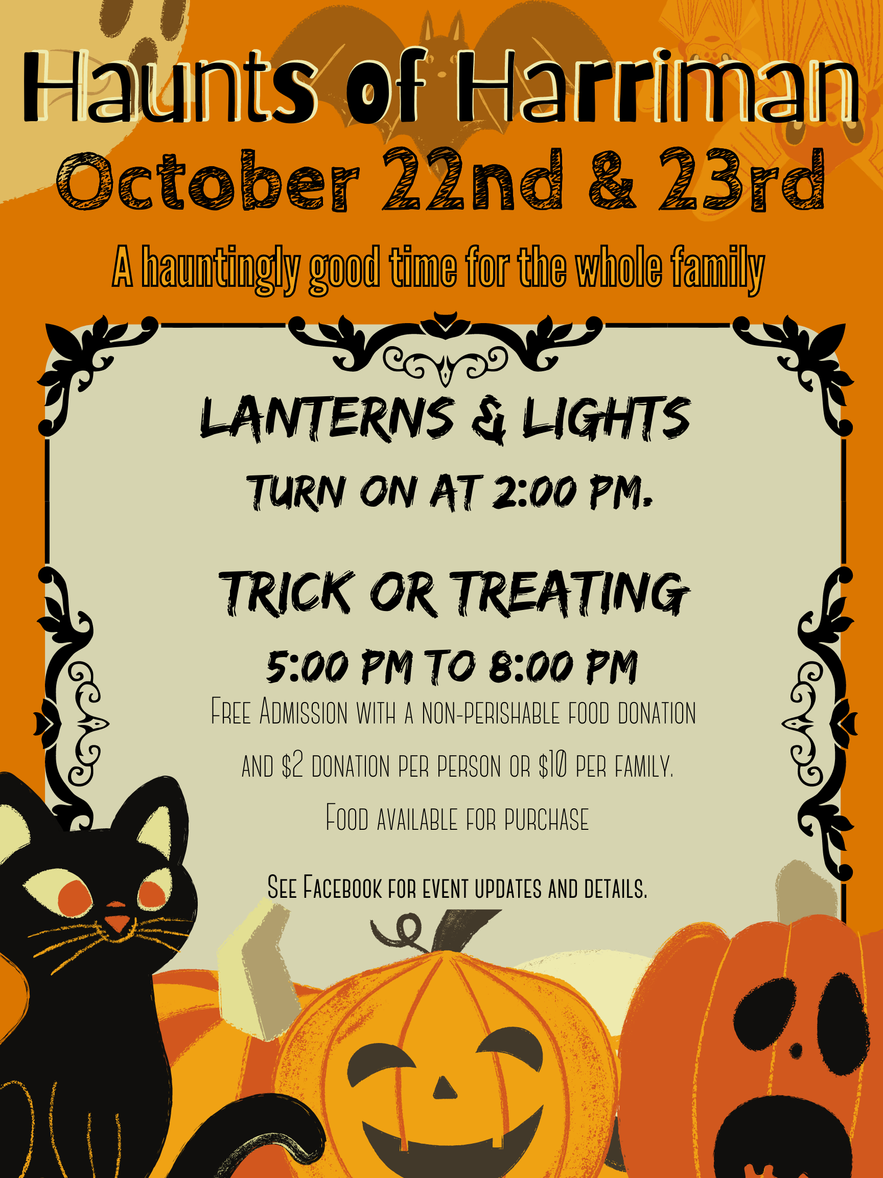 Haunts of Harriman event flyer with description of event and times, info can be found in event description