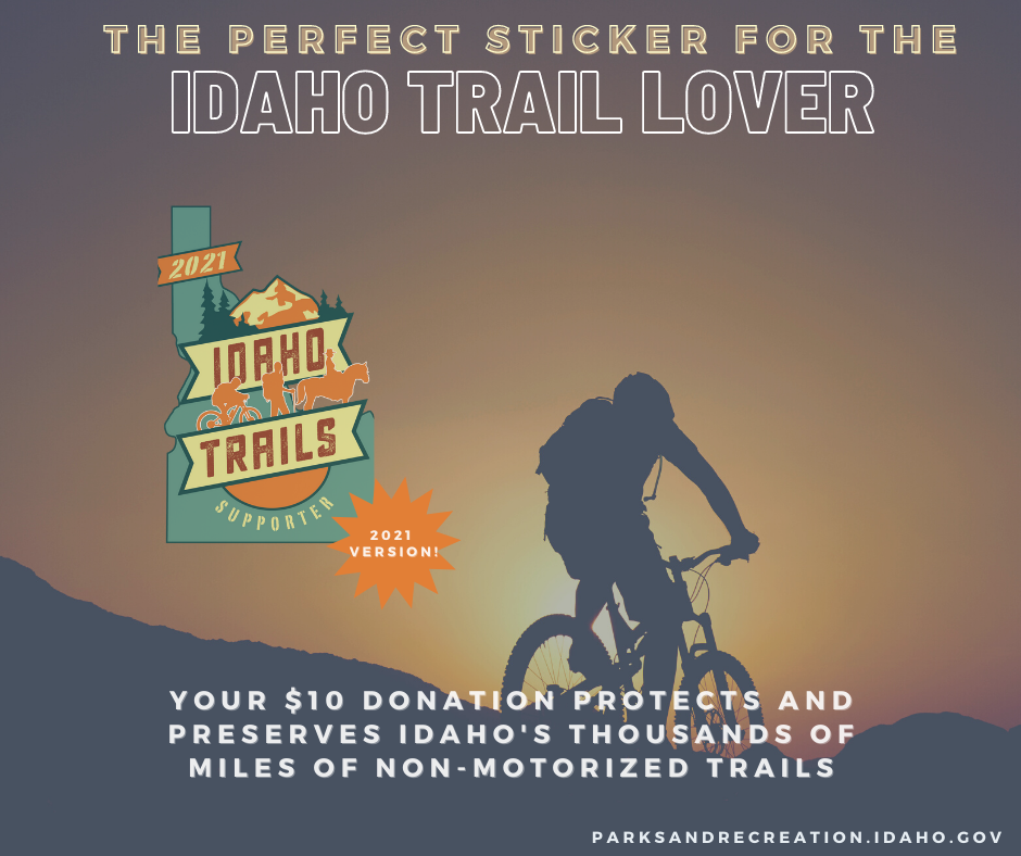 2021 Idaho Trail Supporter Sticker is now available. Image of a biker at sunset