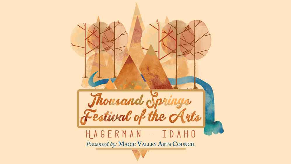 Thousand Springs Festival of the Arts logo. Presented by the Magic Valley Arts Council