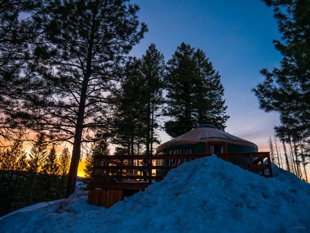 skyline yurt at sunset