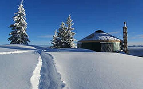 snowy stargazer yurt