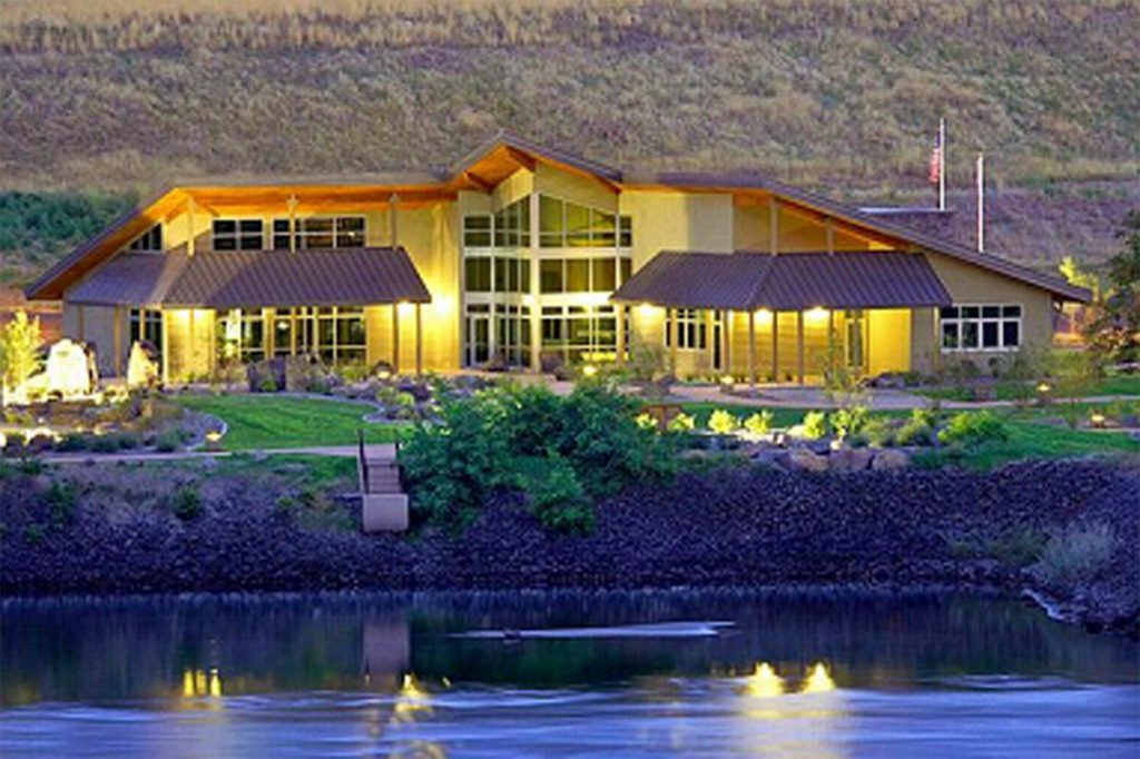the lewis and clark center at night