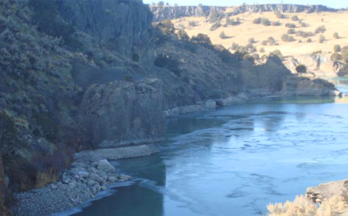 view of massacre rocks hills and river